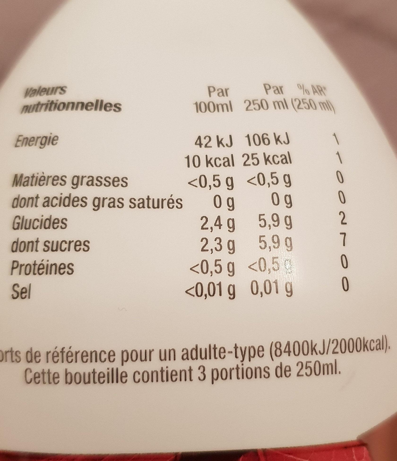 Eau infusée Hibiscus saveur Litchi & Fruit de la Passion - Informations nutritionnelles - fr