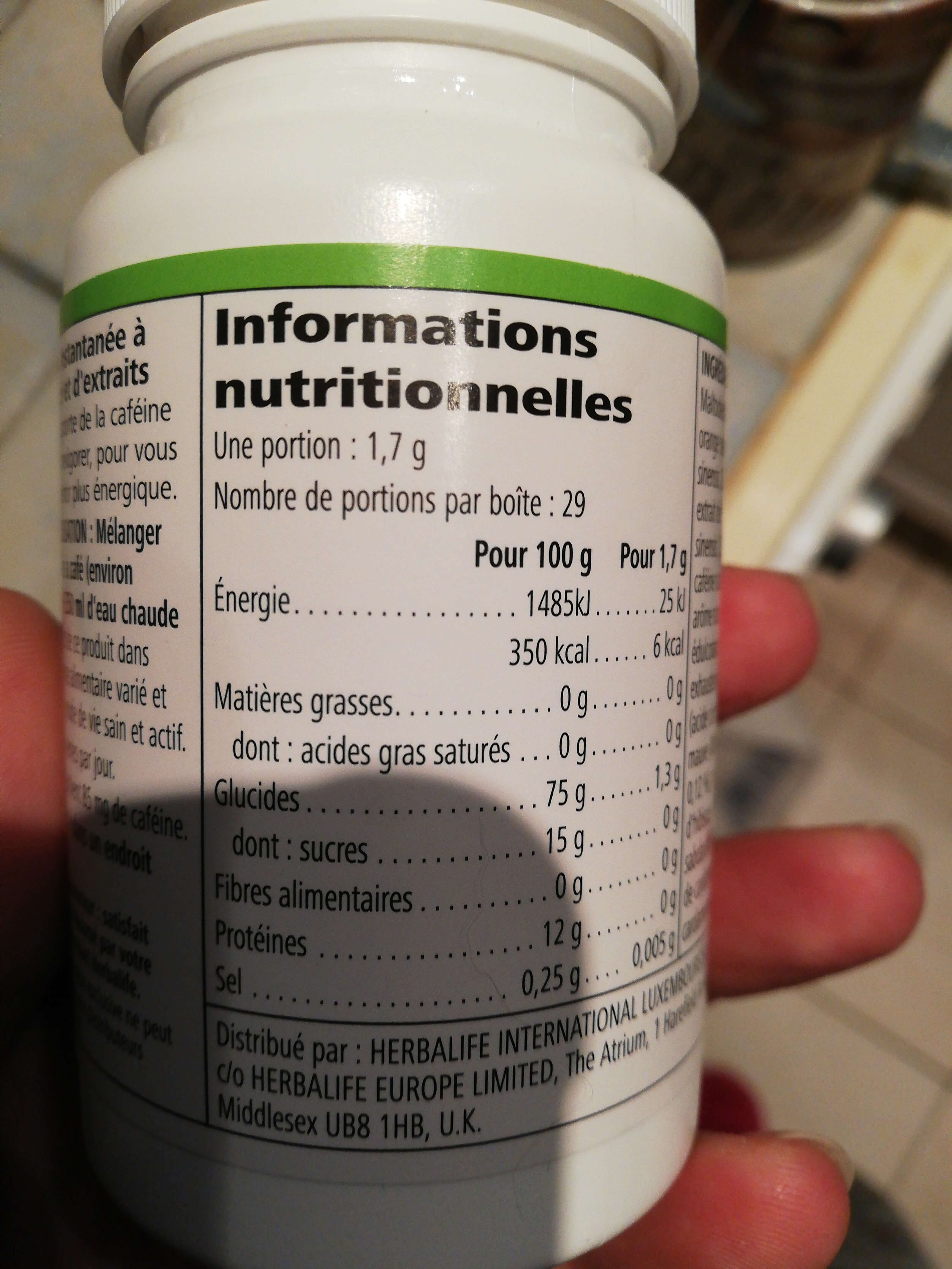boisson instantanée tea - Información nutricional - fr