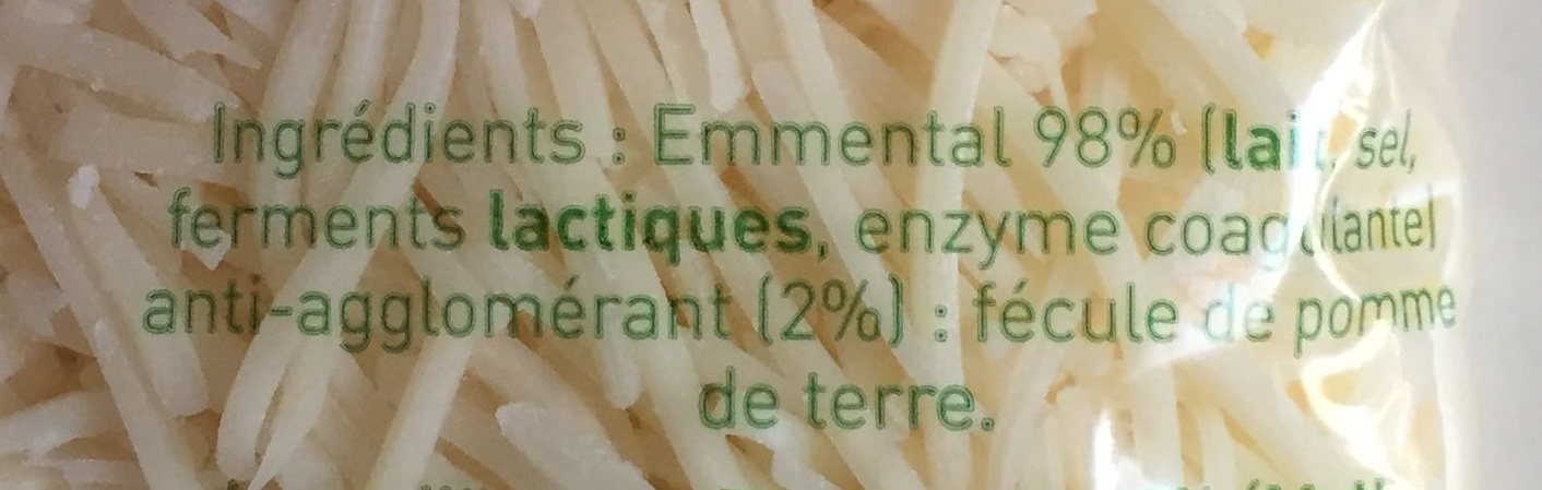 Emmental rapé - Ingredienti - fr