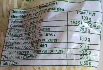 Emmental rapé - Valori nutrizionali - fr
