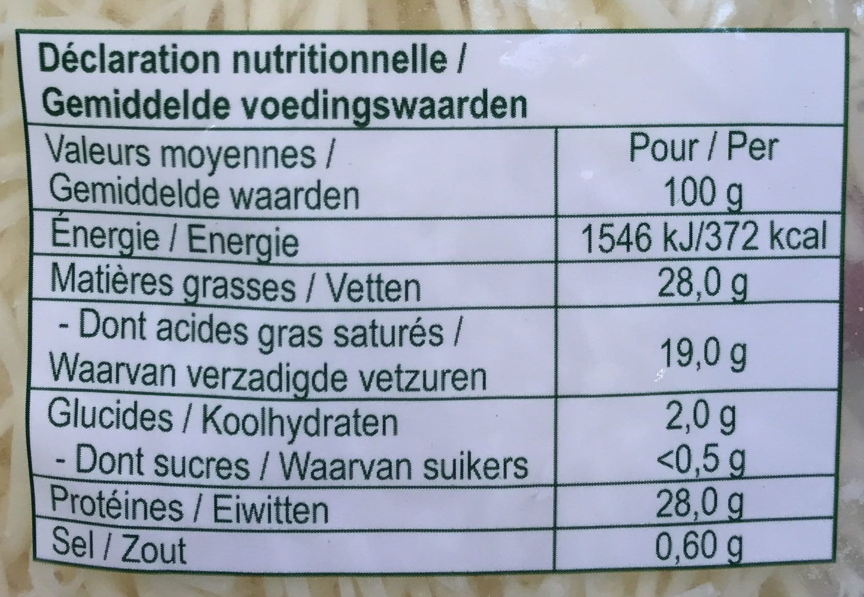 Emmental Râpé - Valori nutrizionali - fr