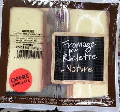 Fromage pour raclette nature (27,5% MG) - Product