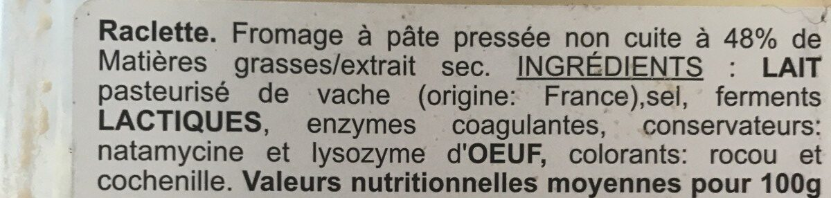 Fromage pour raclette nature (27,5% MG) - Ingrediënten