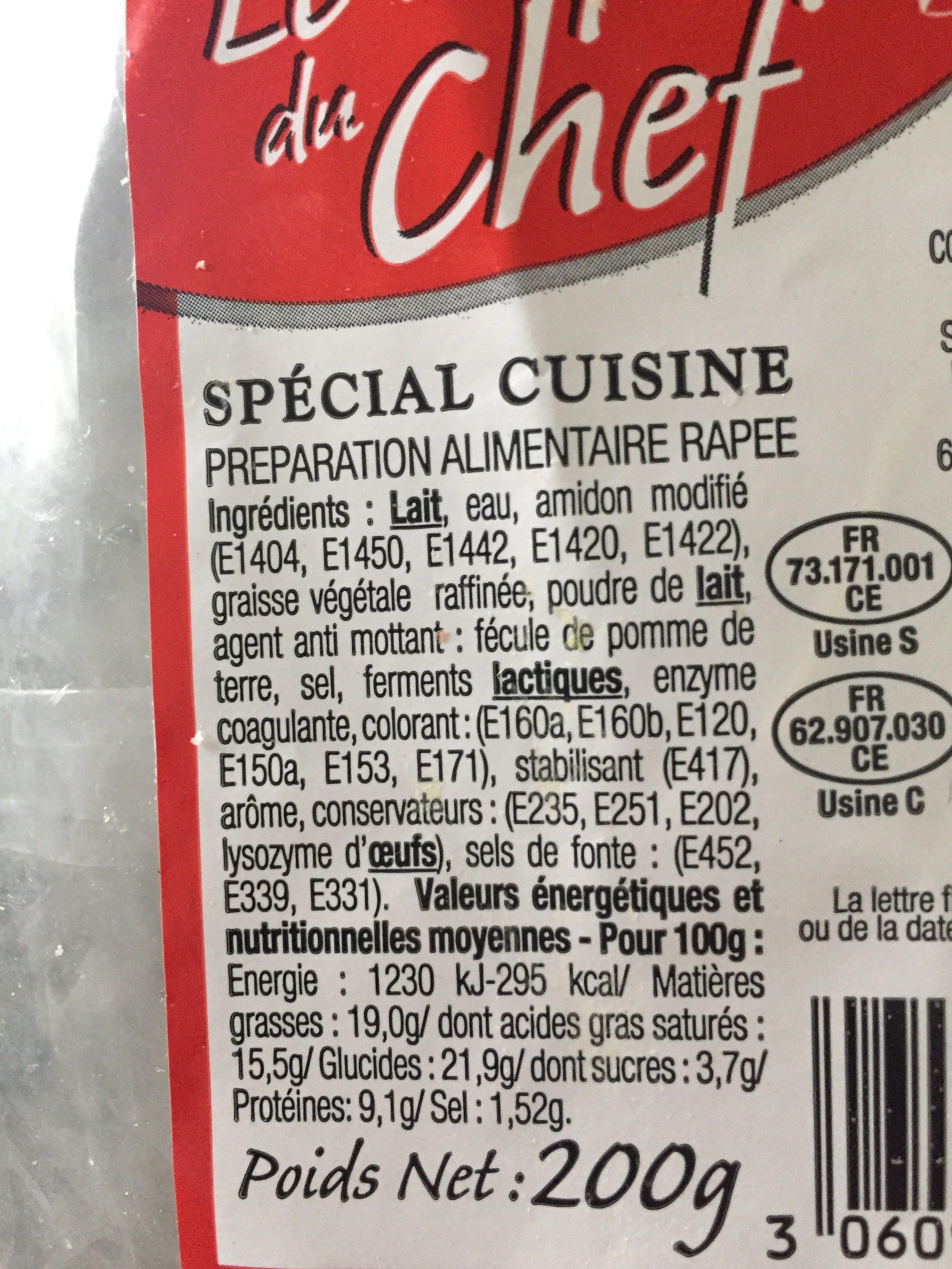 Râpé du chef spécial cuisine - Ingrediënten - fr