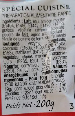 Râpé du chef spécial cuisine - Voedingswaarden - fr