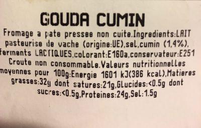 Gouda Cumin - Ingrédients - fr