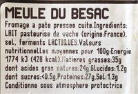 Meule du besac - Valori nutrizionali - fr