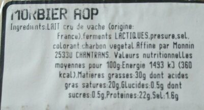Morbier AOP - Ingrediënten