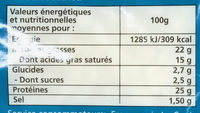 Les Délices d'Amélie Cossettes de mozzarella - Voedingswaarden - fr