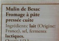 Mulin de Besac - Ingrédients