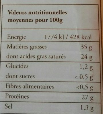 Mulin de Besac - Informations nutritionnelles