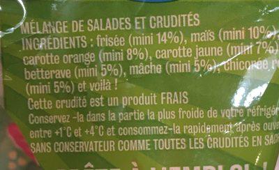 Salade l'irrésistible, LES CRUDETTES, sachet - Ingrédients