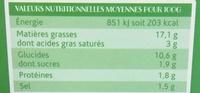Guacamole Doux - Voedingswaarden - fr