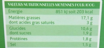 Guacamole Doux - Nutrition facts