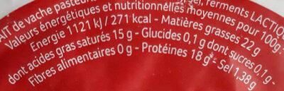 Camembert au lait pasteurisé - Informations nutritionnelles - fr