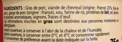 Terrine de chevreuil - Ingrédients - fr