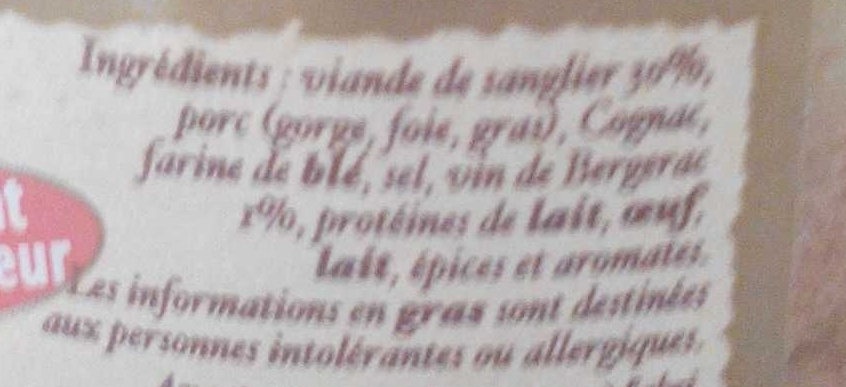 Terrine gourmande de sanglier au Bergerac - Ingrédients