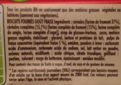Biscuits fourrés goût fraise - Ingredients - fr