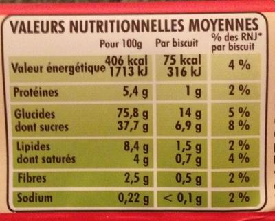 Biscuits fourrés goût fraise - Nutrition facts - fr