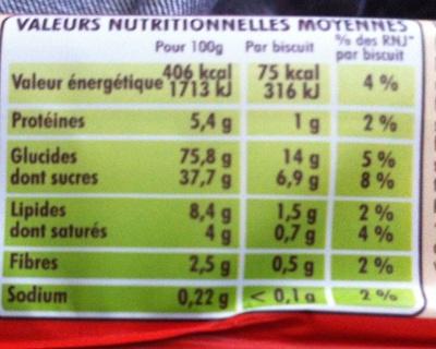 BN Goût Fraise - Nutrition facts - fr