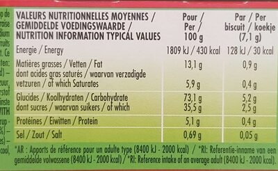 MINI BISCUITS A LA FRAISE - Valori nutrizionali - fr