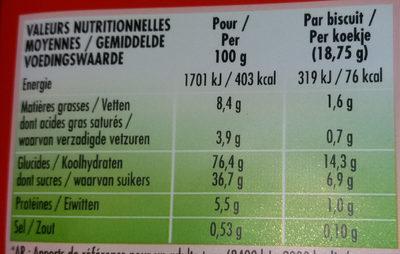 BN goût fraise - Información nutricional