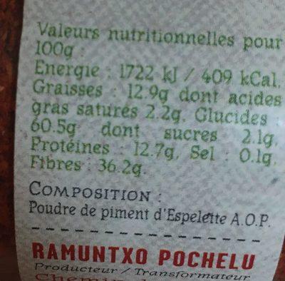 Poudre de piment d'espelette - Ingrédients - fr