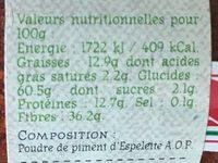 Poudre de piment d'espelette - Informations nutritionnelles - fr