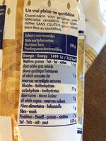 Pates sans gluten - Informations nutritionnelles