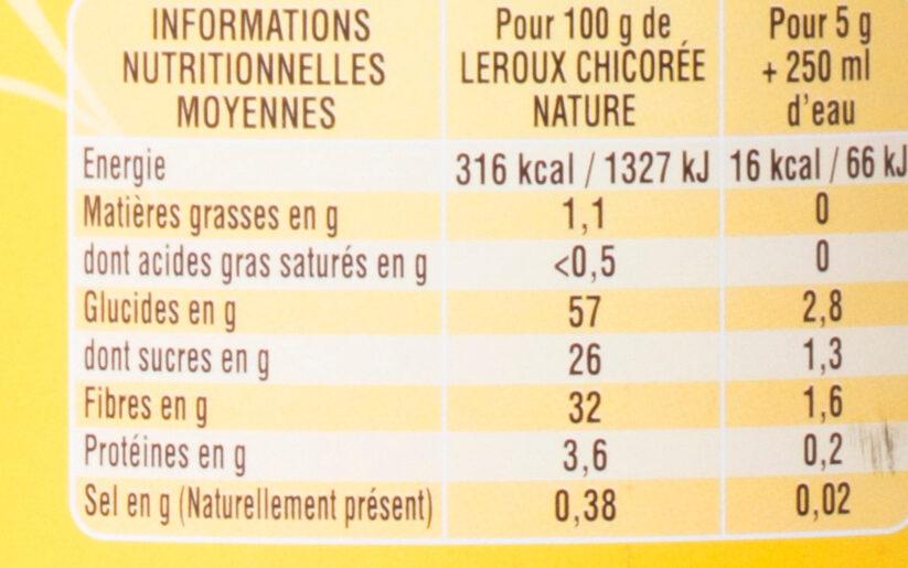 Chicorée soluble nature - Información nutricional - fr