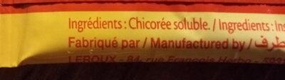 Chicoree soluble stick nature 50g (etui 20 sticks x 2,5g) - Ingredienti - fr