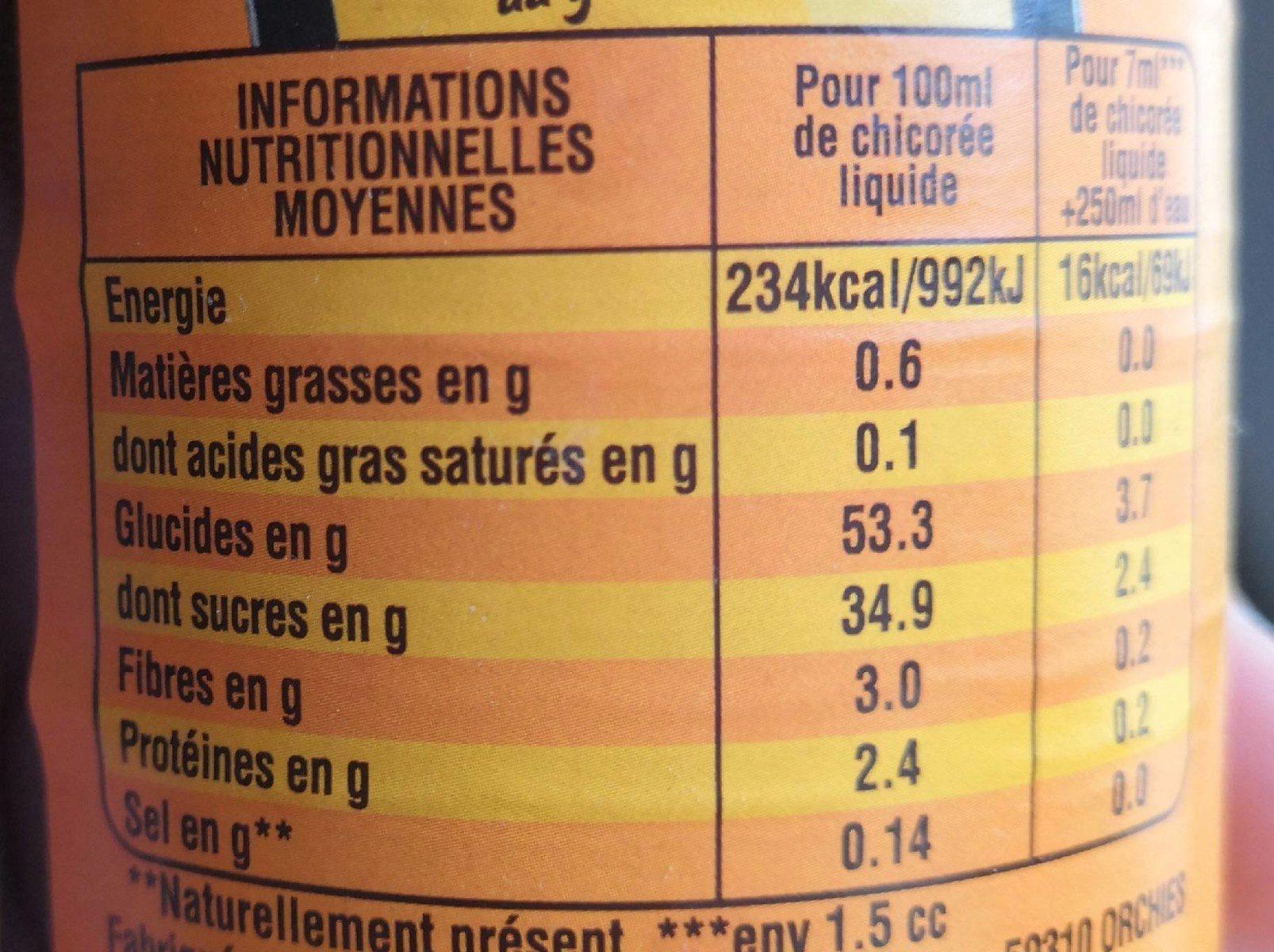 Chicorée liquide - Informations nutritionnelles - fr