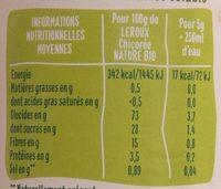 Chicoree soluble nature bio 100g - Informazioni nutrizionali - fr