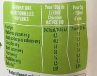 Chicoree soluble nature bio 100g - Nutrition facts - fr