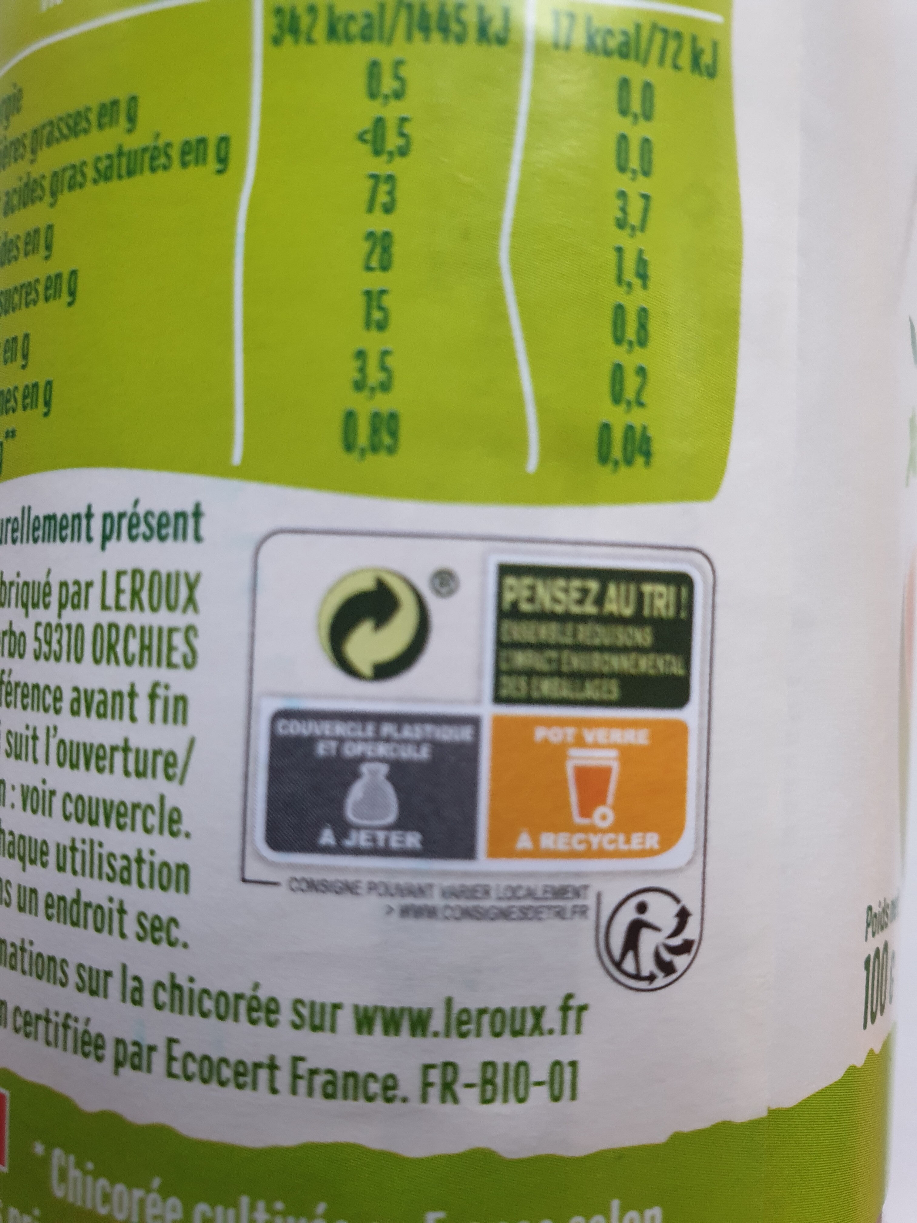 Chicoree soluble nature bio 100g - Recycling instructions and/or packaging information - fr