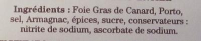 Foie Gras de Canard Entier - Ingredients