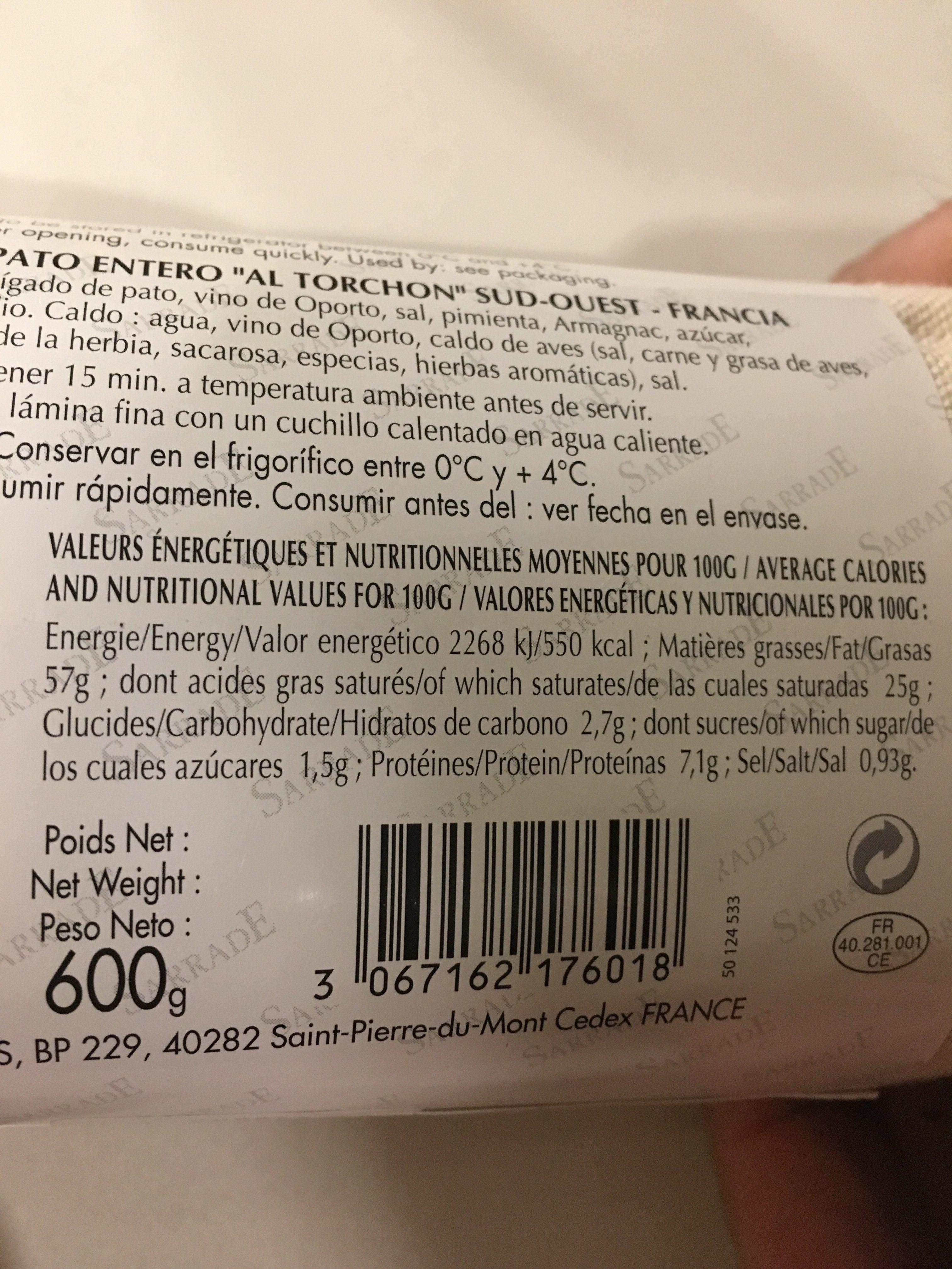 Foie Gras de Canard Entier Cuit au Torchon - Ingrediënten - fr