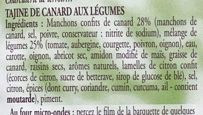 Tajine de Canard aux Légumes - Ingrédients