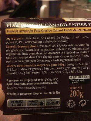 Foie gras de Canard entier du Périgord - Ingrédients - fr