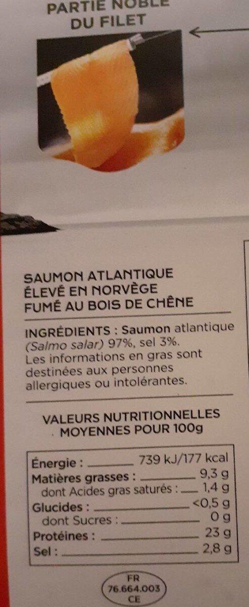 Saumon fumé Norvège x4 - Informations nutritionnelles - fr