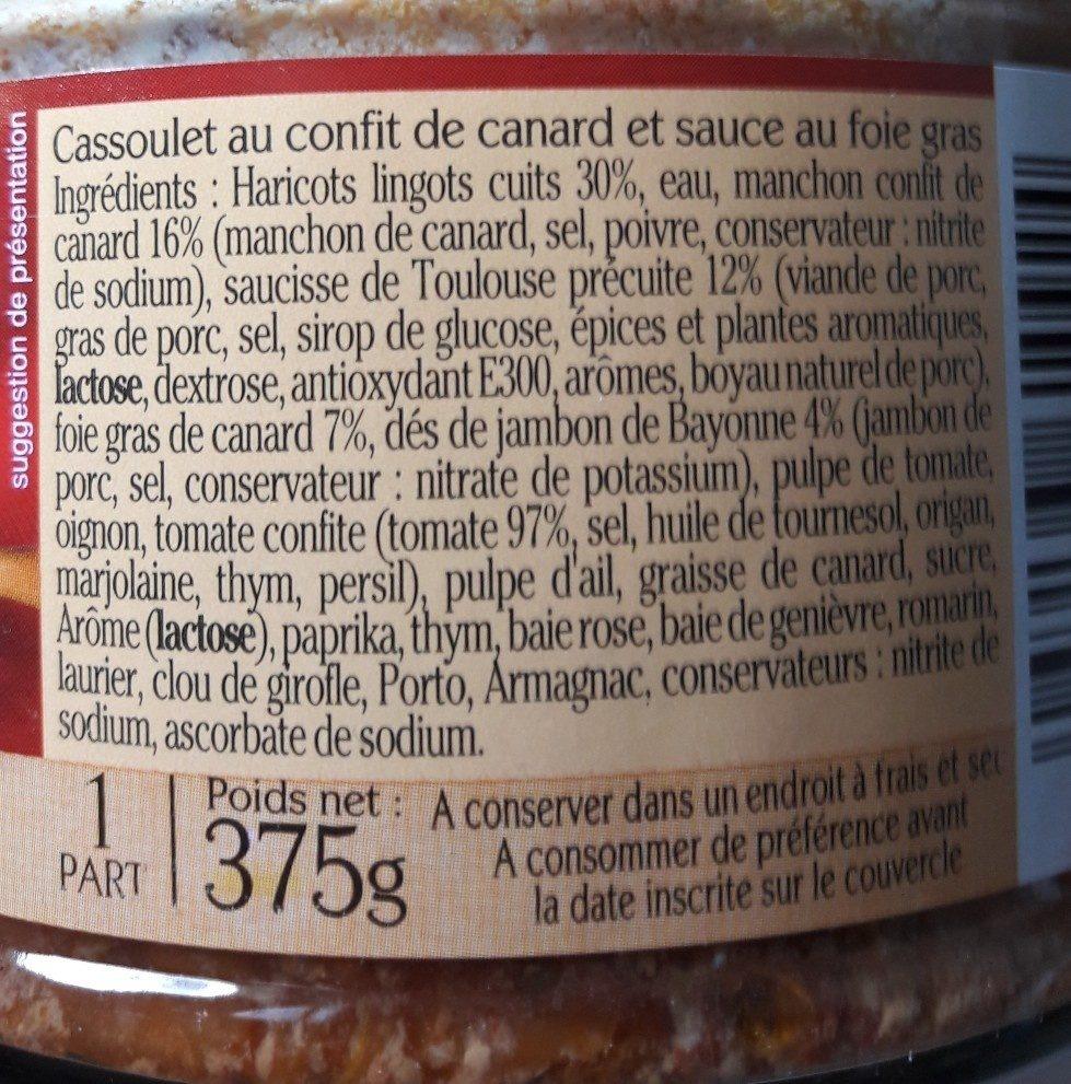 Cassoulet au Confit de Canard - sauce au Foie Gras - Ingrédients - fr