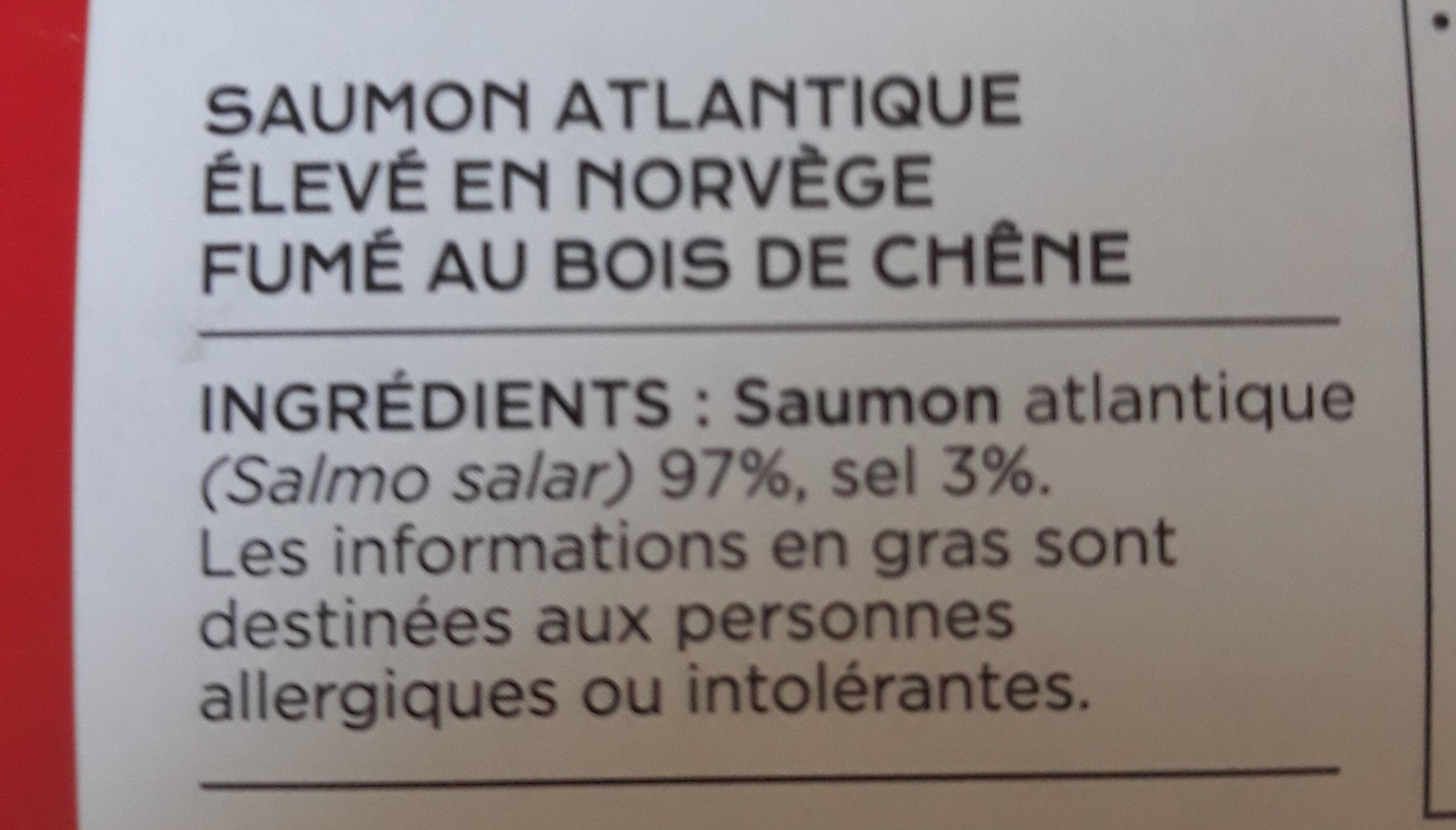 Saumon fumé extra Norvège - Ingrédients - fr