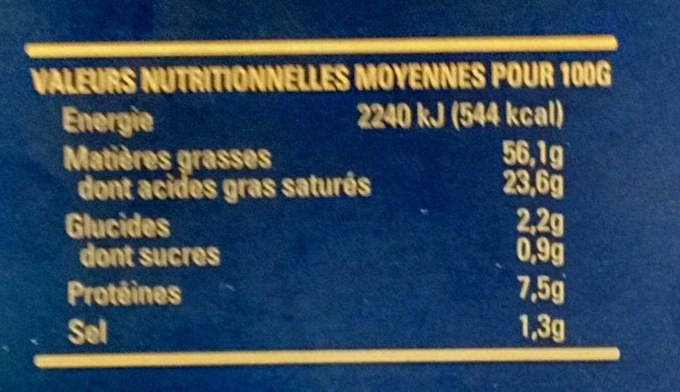 Foie gras de canard entier - Voedingswaarden - fr