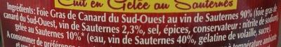Foie gras de canard entier du Sud-Ouest cuit en gelée au Sauternes - Ingredients