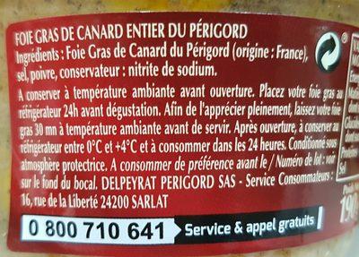 Foie Gras de Canard Entier Périgord - Ingrediënten - fr