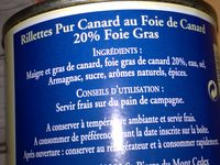 Rillettes Pur Canard au Foie de Canard (20% de foie gras) - Ingrédients - fr