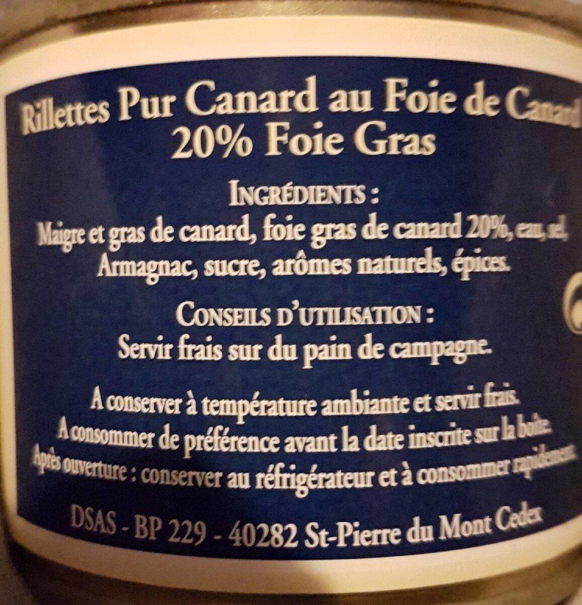 Rillettes Pur Canard au Foie de Canard (20% de foie gras) - Informations nutritionnelles - fr