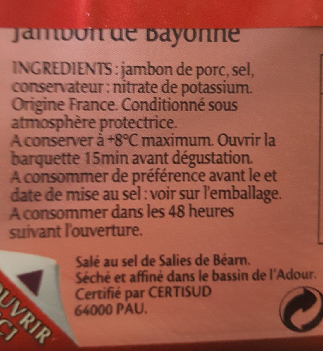 Le Jambon de Bayonne - Ingredients - fr