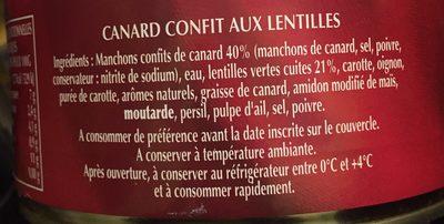 Plat cuisiné Canard confit lentilles Delpeyrat - Ingrediënten