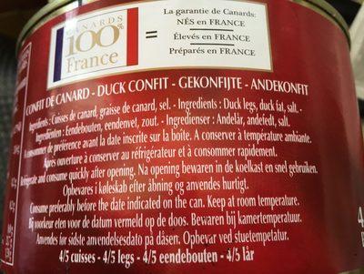 Confit de canard delpeyrat - Ingrédients